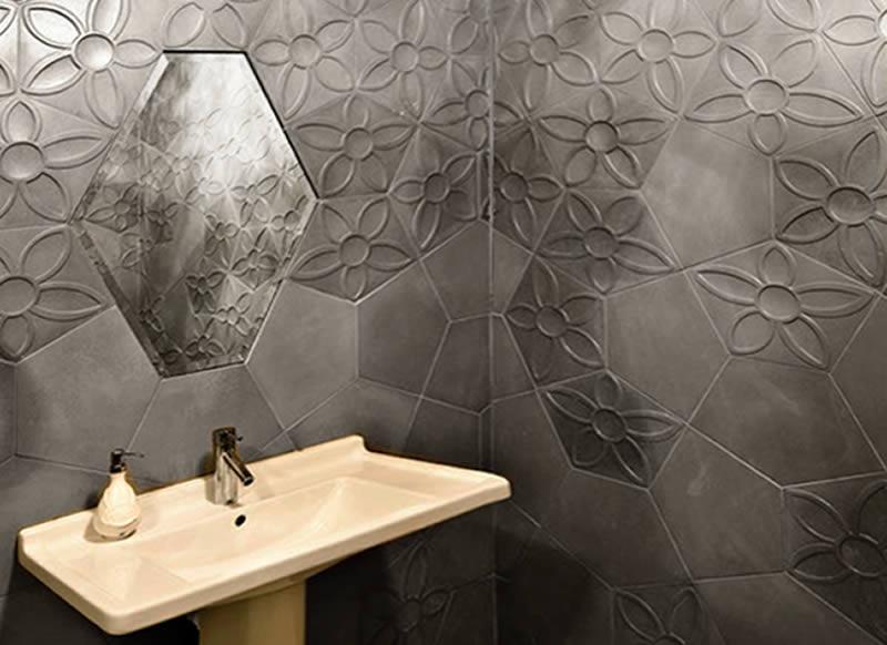 Azulejos Baño Relieve:Baño con azulejos de hormigón