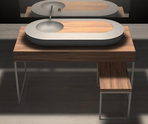 Ba os de estilo moderno de piedra y madera for Banos de madera y piedra