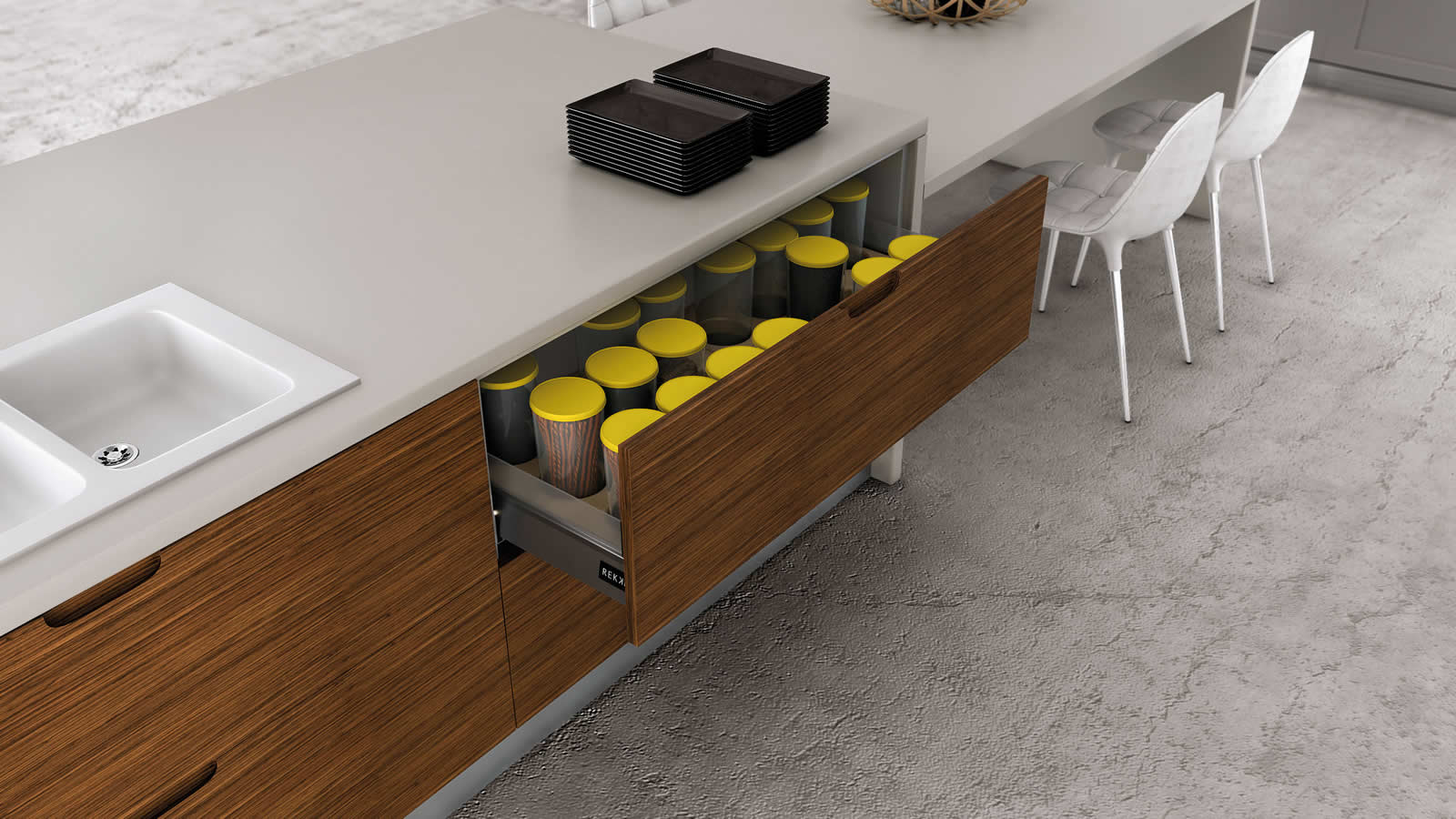 Muebles de cocina en lacado blanco y madera for Cocinas color madera y blanco