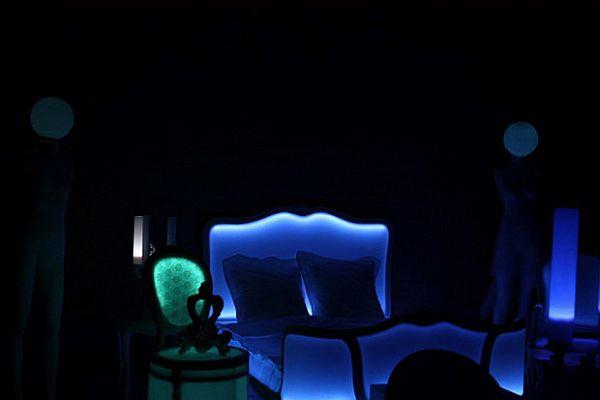 Cama original con luz y color for Cama original