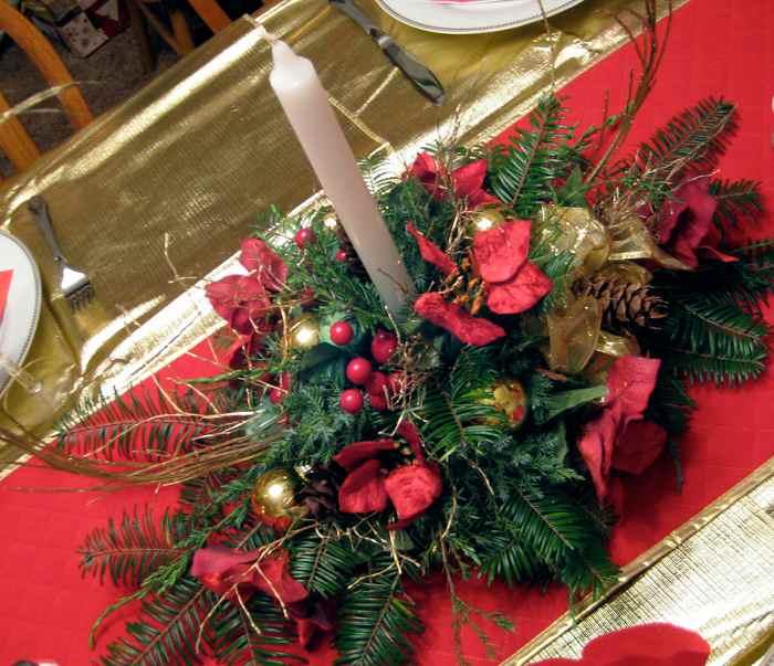 centro de mesa navidad vela flores bayas piñas lazos Ideas de Centros de Mesa para Navidad  Segunda Parte