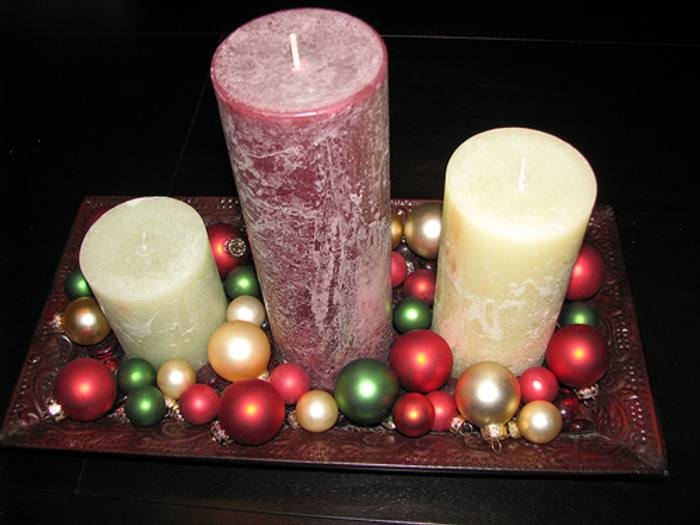 centro de mesa navidad velas bolas fuente Ideas de Centros de Mesa para Navidad  Segunda Parte