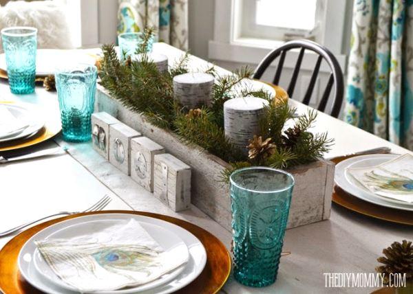 centro de mesa navideño y natural