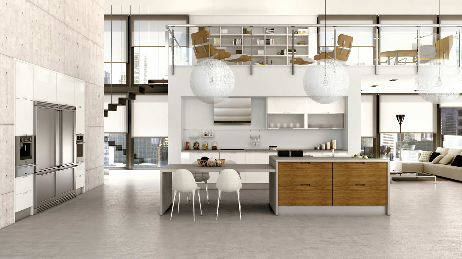 Muebles de cocina en lacado blanco y madera for Diseno de cocinas minimalista