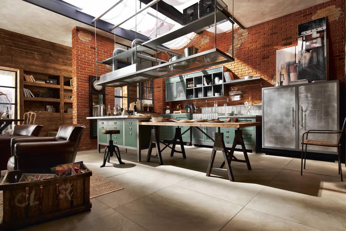 Cocina con muebles estilo vintage
