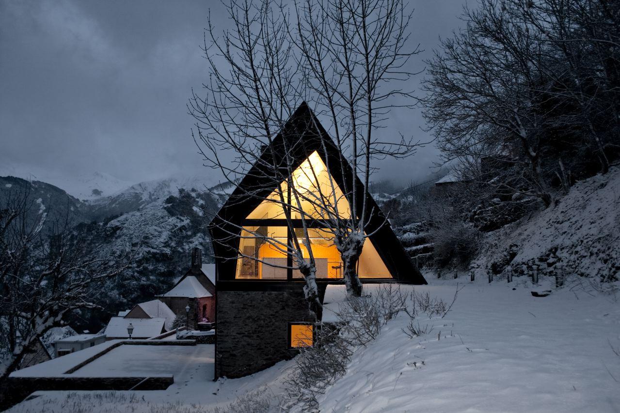 Exterior cubierto en nieve