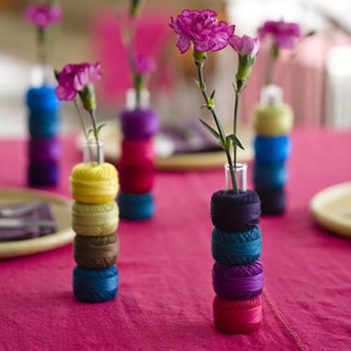 centro de mesa DIY y colorido