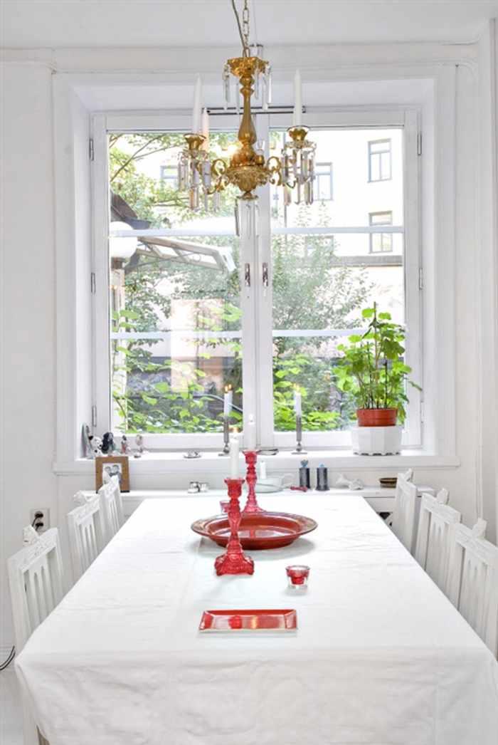 decorando con blanco mesa comedor Decoración en Blanco sobre Blanco
