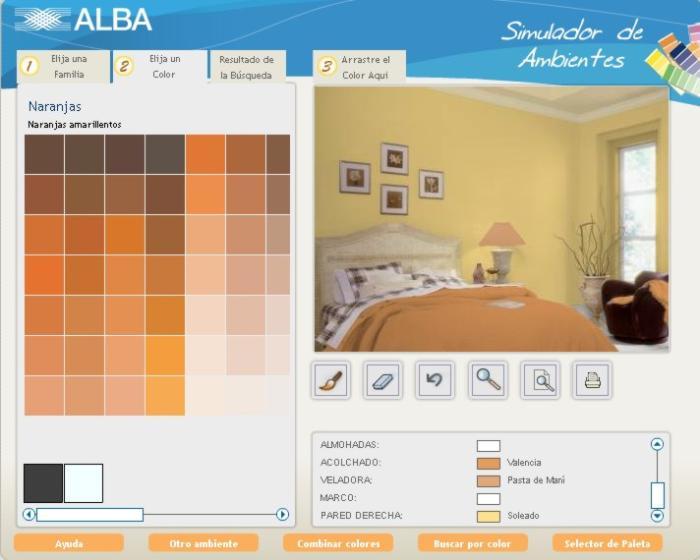 Decorar usando un simulador de ambientes - Paleta de colores pared ...