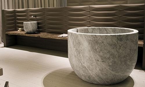 diseno banera marmol elegancia lujo 1 Diseño de Bañera Circular de Mármol, Elegancia y Lujo