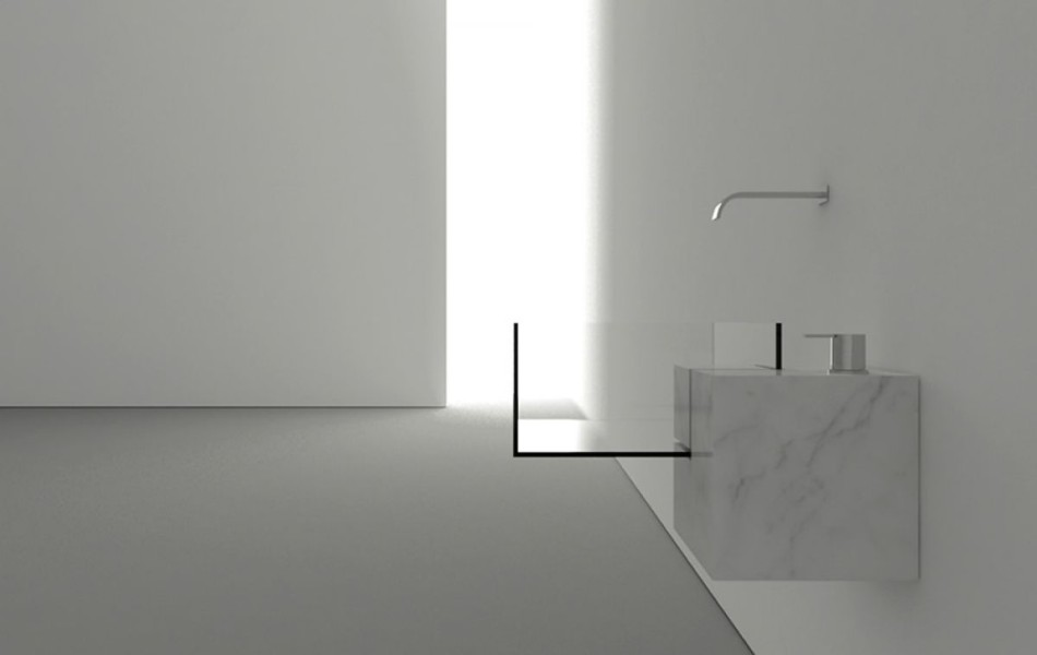 Lavabo minimalista y surrealista kub for Lavabo minimalista