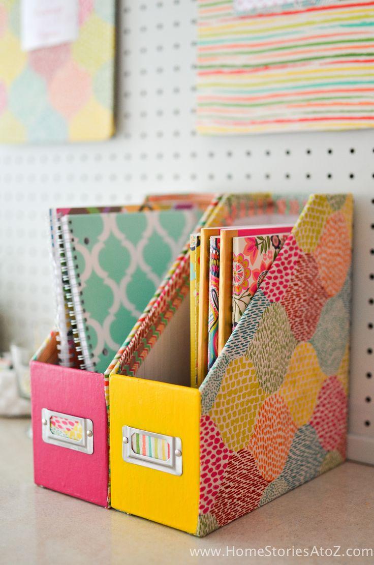 Caja DIY para organizar y libros, cuadernos y papeles