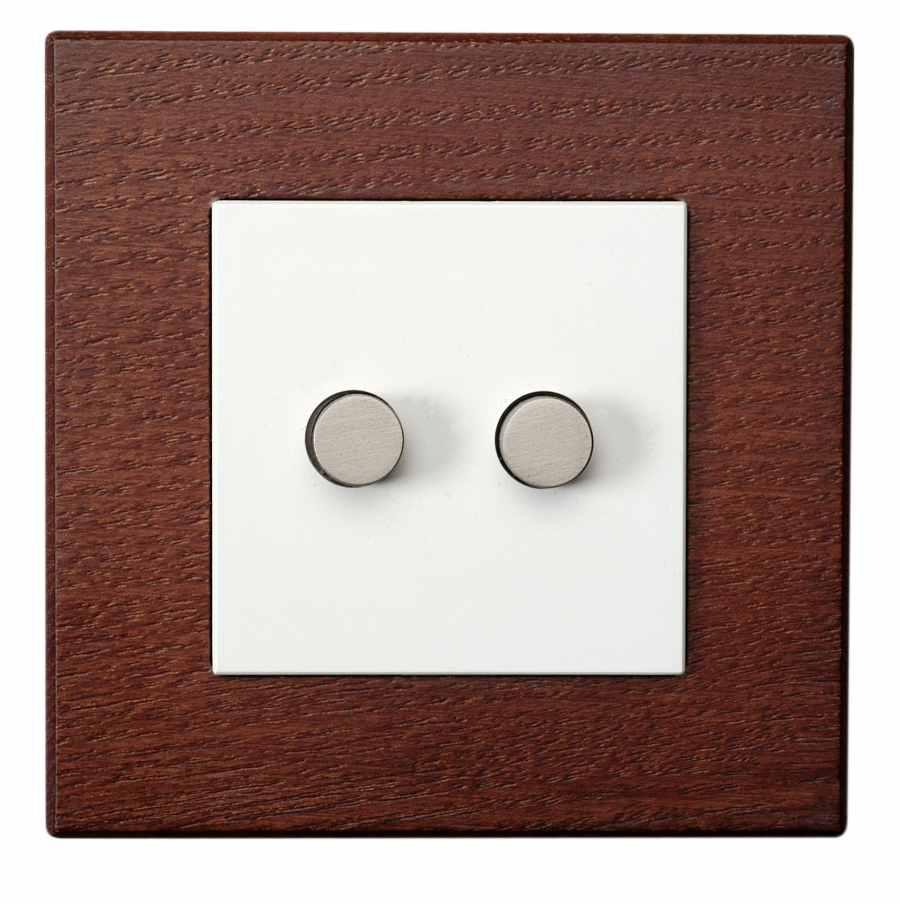 doble pulsador con marco de madera