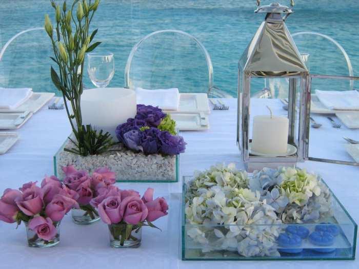 hortensias rosas Centros de Mesa y Arreglos Florales en Jarrones de Cristal