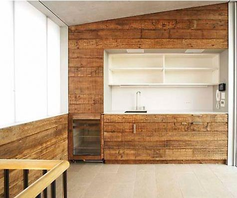 paneles de madera en la cocina