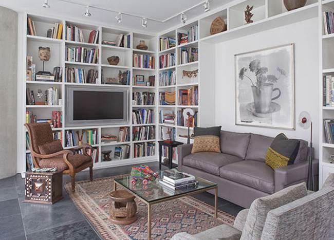Ideas decoraci n biblioteca como pared funcional - Estanterias originales de pared ...