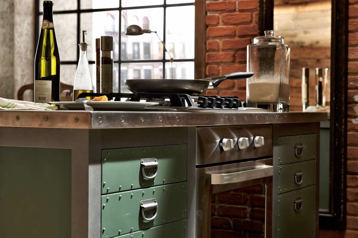 Isla de cocina estilo vintage