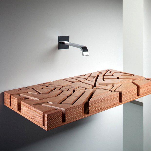 lavabo 3D de madera