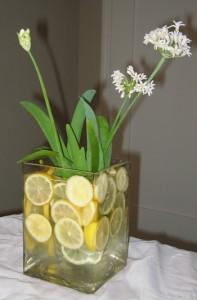 limon flores 197x300 Decoración de Centros de Mesa y Arreglos Florales con frutas