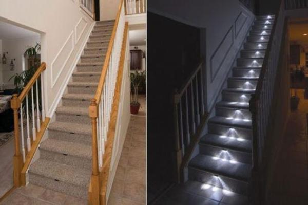 Luces led para escaleras seguridad y agradable est tica for Apliques de led para escaleras