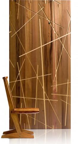 Panel de madera de nogal reciclada