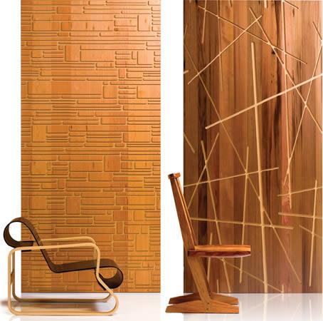 Muestras de los revestimientos de madera recuperada