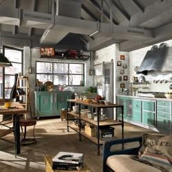 Cocina ambientada con mobiliario estilo vintage