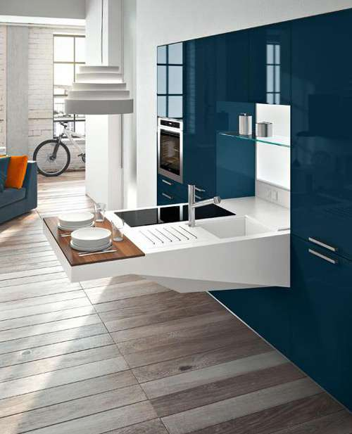 Modernas cocinas de dise o compacto para espacios peque os for Diseno de espacios pequenos