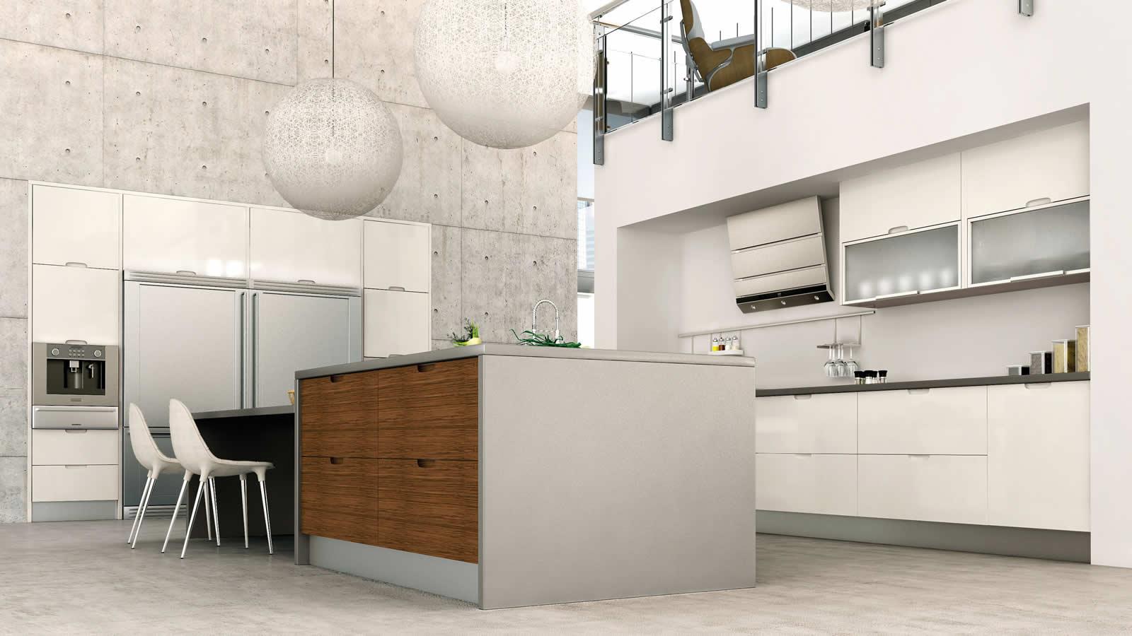 Muebles de cocina en lacado blanco y madera for Mueble mesa cocina