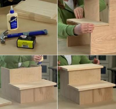 pasos taburet 400x376 Construir un Práctico Taburete