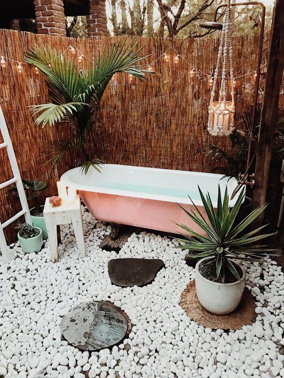 patio con bañera