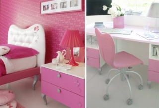rosa barbie dormitorio ninas 8 320x218 Dormitorios Color Rosa para Niñas y Jóvenes