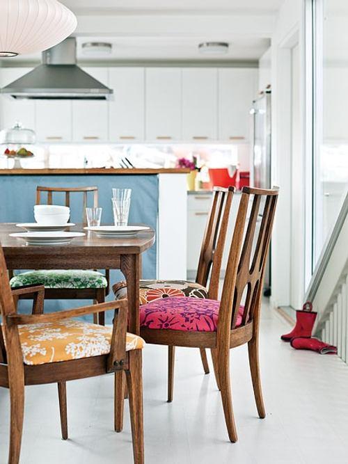 Simple idea para renovar los muebles del comedor - Tapiceria de sillas de comedor ...