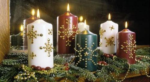 Velas decoradas para navidad - Centro de mesa navideno manualidades ...