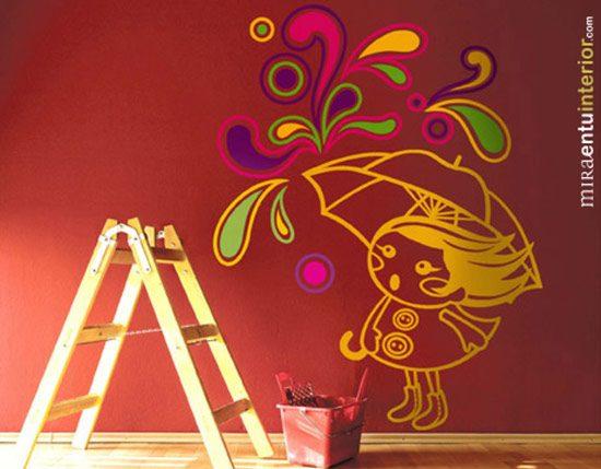 Vinilos decorativos de mira en tu interior for Vinilos pared gotele